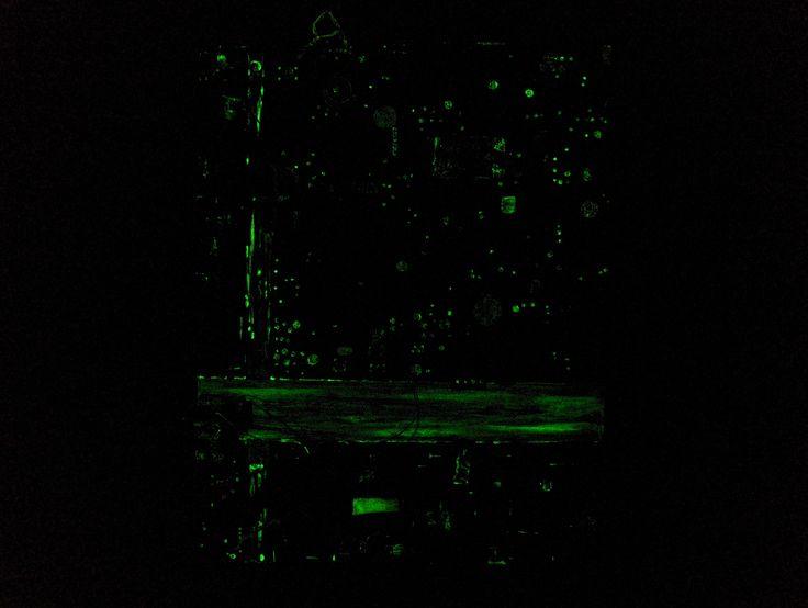"""Phylum (dark) 2009 - 2010 24"""" x 28"""" Acrylique, gouache, médium phosphorescent et composantes électroniques sur toile Acrylic, gouache, glow-in-the-dark medium and electronic components on canvas"""