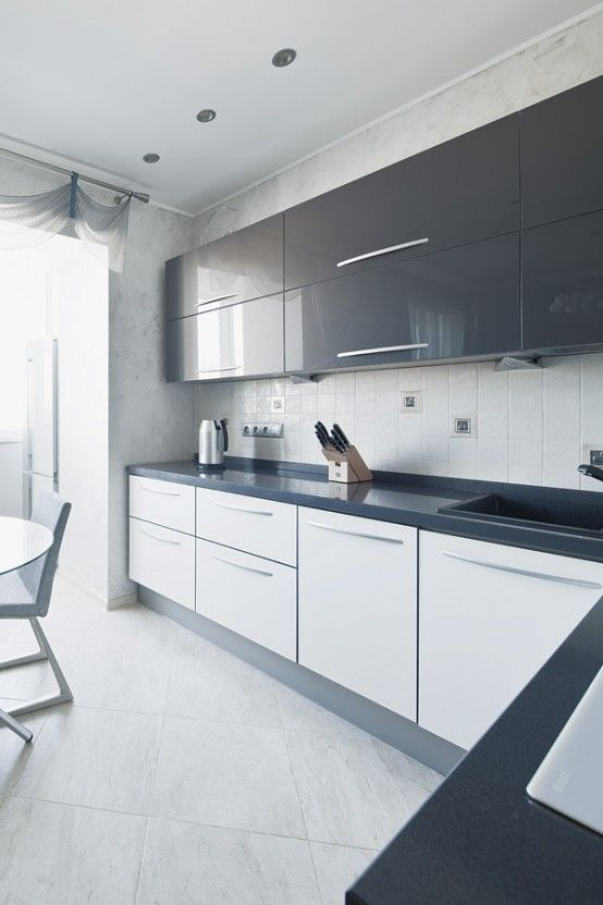 Grey And White Gloss Kitchen   By BoConcept Designers. Bar Area!