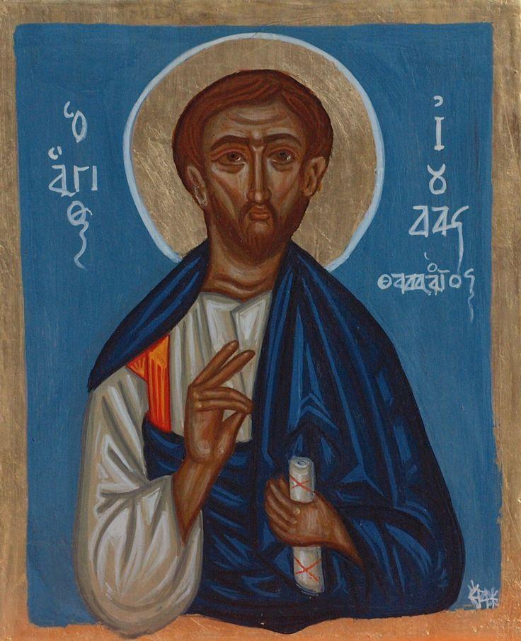 St Jude Thaddeus or San Judas- A Saint and an Apostle. Size: 19x25 cm egg tempera on wood #byzantineiconography.