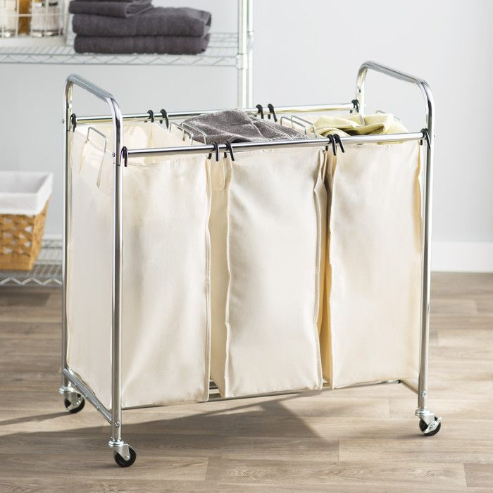 3 bag laundry sorter. Get The Upper Hand On Laundry Day With Wayfair Basics LaundrySorting Cart It Features Three Removable Canvas Bags A Heavyduty Steel 3 Bag Sorter