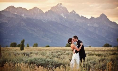 Grand Teton National Park Wedding-- getting married in a field with mountains in the distance? Yes please!