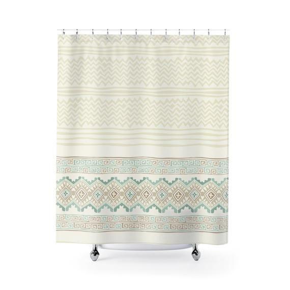 Off White Shower Curtain Delicate Geometric Texture Feminine Bath