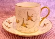 French Limoges Tiny Demitasse Cup & Saucer Hand Painted Flying Birds c 1890 - 1905:
