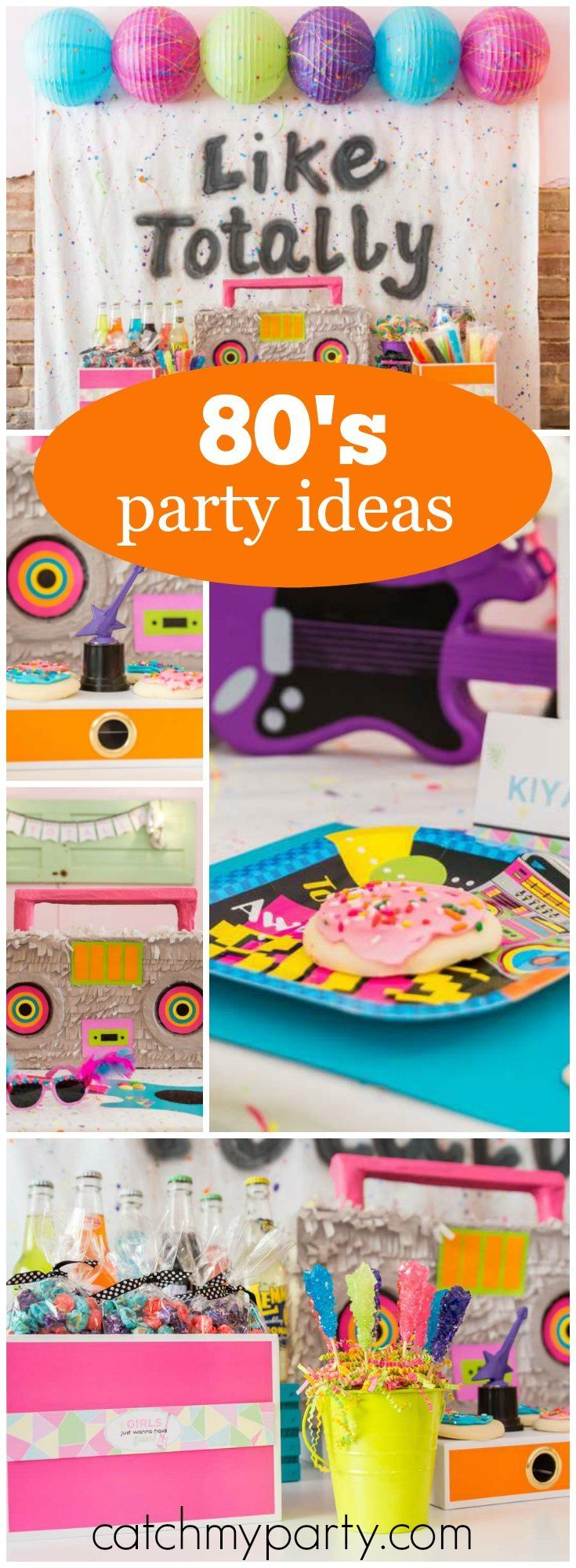 This 80's girl birthday party is like totally awesome! See more party ideas at Catchmyparty.com!