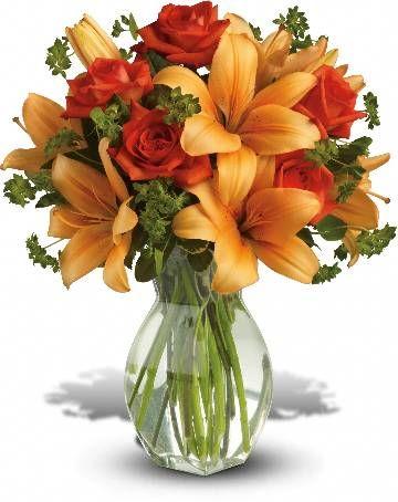 Rosas alaranjadas escuras e lírios asiáticos são misturados com bupleurum verde fresco e pittosporum variegada.  Fotografia: m.teleflora.com