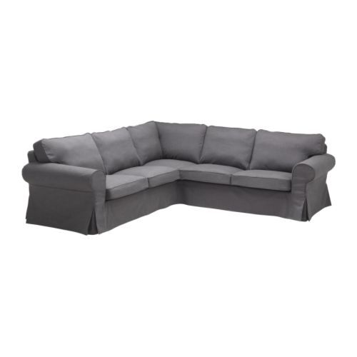 IKEA - EKTORP, Corner sofa 2+2, Svanby grey, , The cover is easy to keep clean as it is removable and can be dry cleaned.Seat cushion filled with high resilience foam and polyester fibre balls for soft seating comfort.Reversible back cushions filled with polyester fibres provide soft support for your back and two different sides to wear.A range of coordinated covers makes it easy for you to give your furniture a new look.