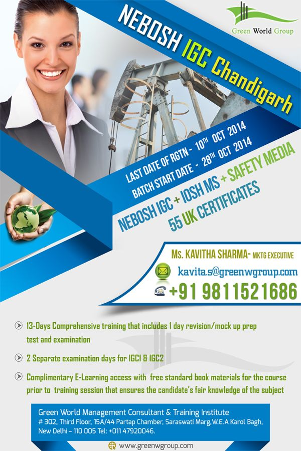 Green World Groups Launching With Special Offers For Nebosh Course In Chandigarh At 49999 INR And Get IOSH Managing Safely 55 UK Certifications