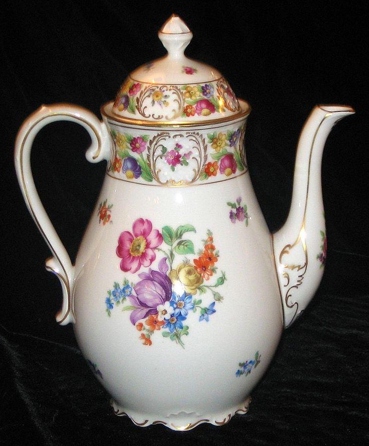 Schumann Dresden Large Floral Coffee Pot /Teapot/Chocolate Pot