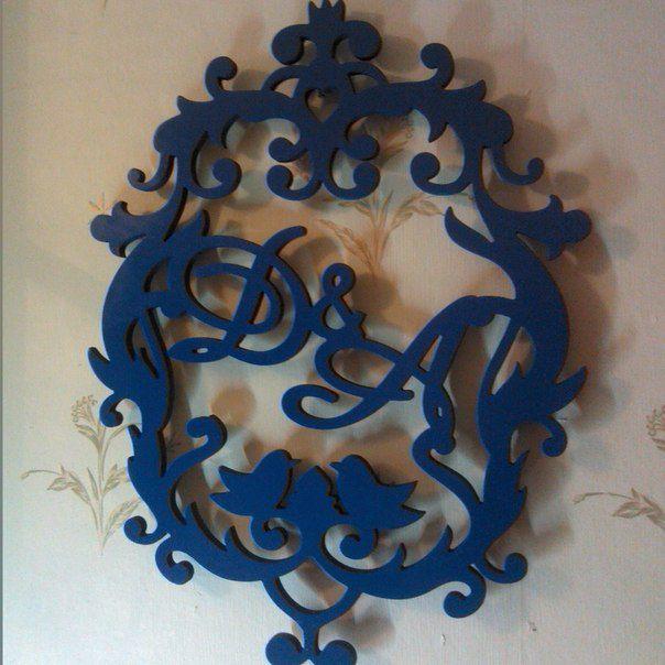 Монограмма с инициалами для молодоженов. Размер 45х60х1 см. Материал: дерево с покраской в синий цвет.  Разработан специально для свадебного декора и в подарок молодоженам.