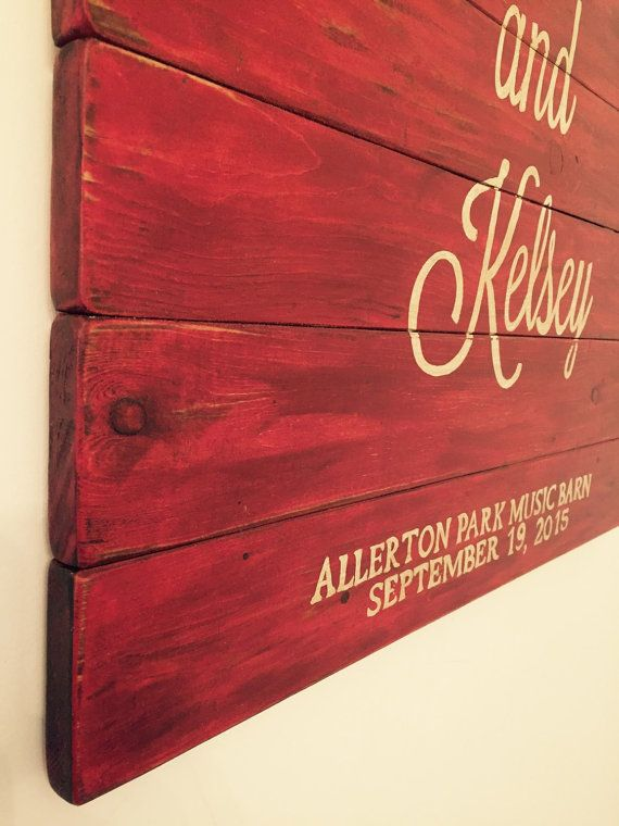 Personalized Wood Guest Book Red Barn Wood by StarryNightSigns
