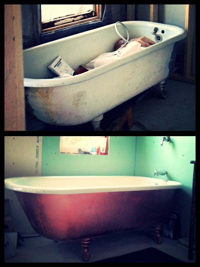 Bathtub before and after. $6 upgrade. 1 can of hammer finish copper spray paint