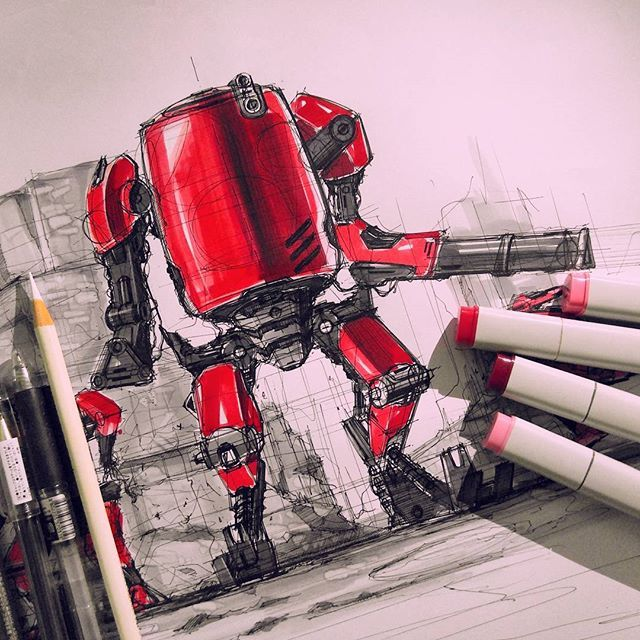 military concept robot sketch & rendering by sanjoon park #conceptdesign #transportation #automotivedesign #conceptart #rendering #marker #drawing #illustration #illust #roughsketch #industrialdesign #sketch #sketches #drawing #design #cardesign #carsketch #designing #ideasketch #doodle #productdesign #designer #robot #scifi #mecha