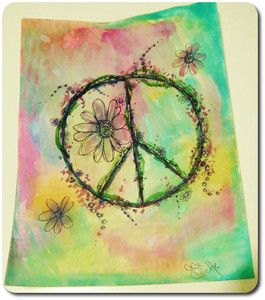 signed original watercolor floral drawing sketch peace sign ethereal boho flower