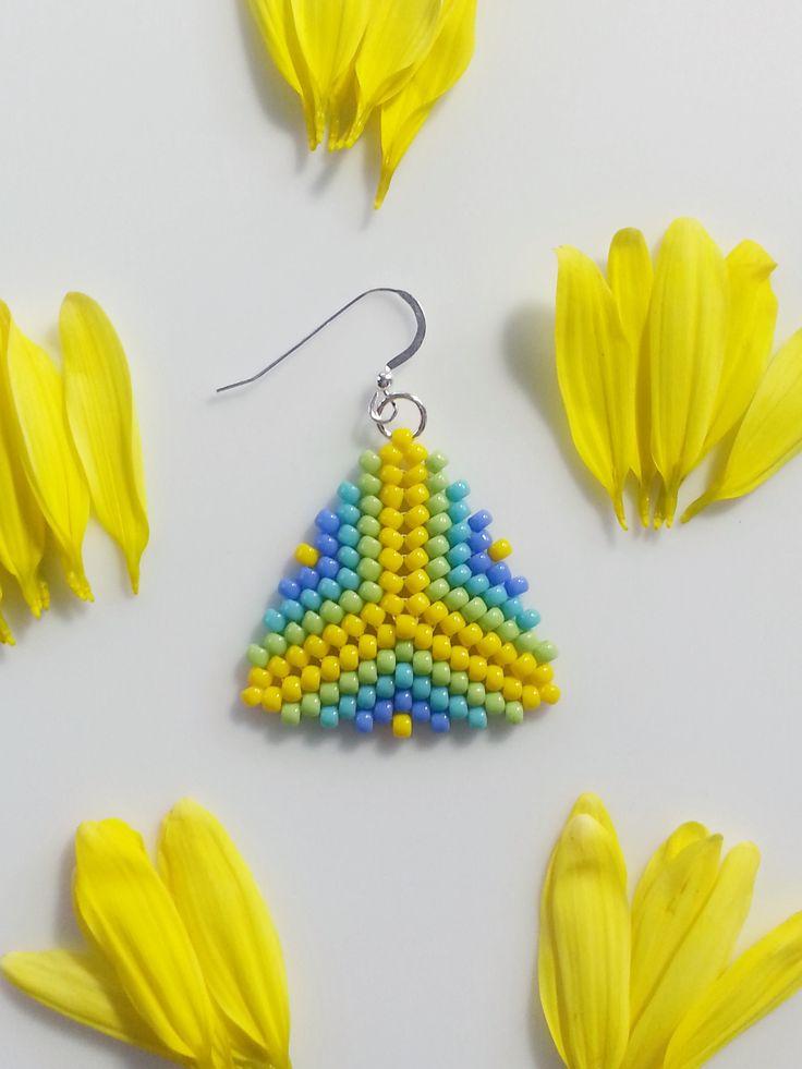 Green Blue Yellow Beaded Triangle Earrings, Peyote Stitch Earrings