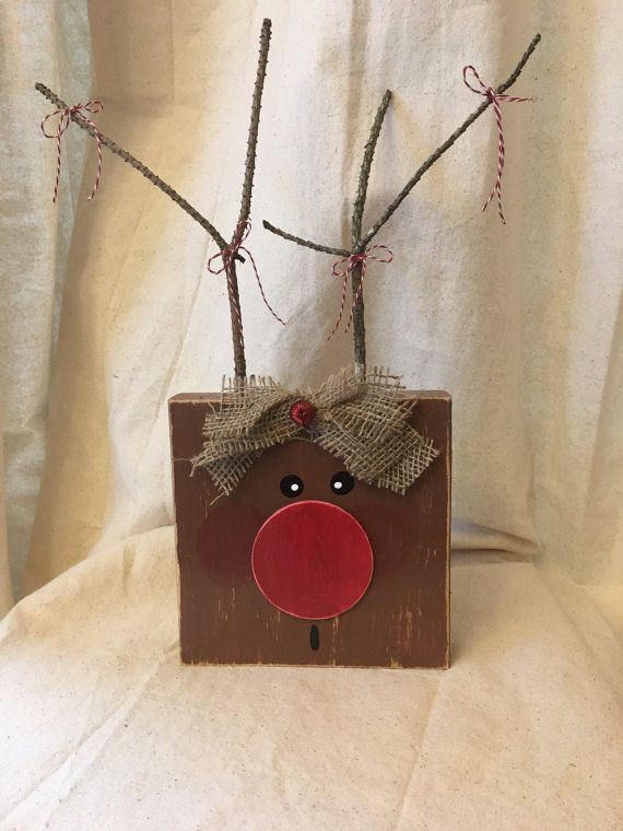 Reindeer Wooden Reindeer Christmas Holidsy by carlyandcass on Etsy