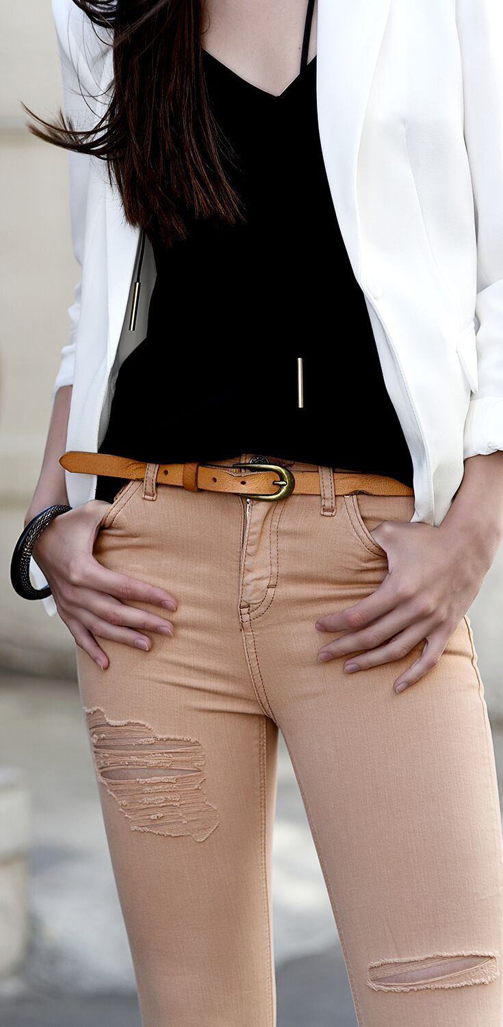 High quality hand made tan leather belt by BEDSTU always pairs well with your favorite distressed jeans.
