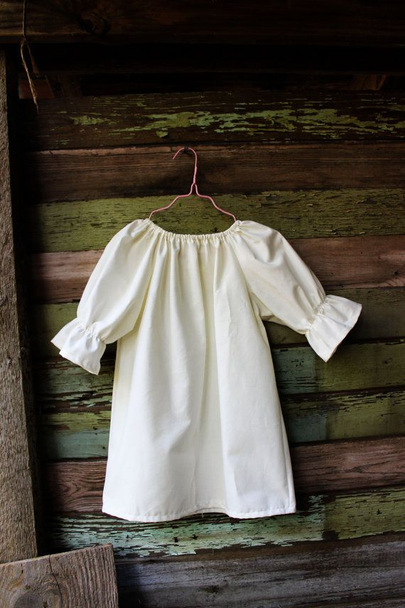 White or ivory three quarter length long sleeve peasant dress, flower girl fall, baptismal gown, winter,coming home outfit, toddler, girls