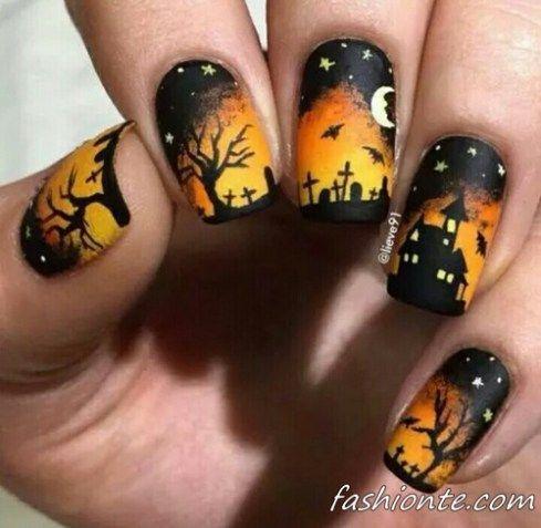 Рисунки на ногтях на Хэллоуин (40+ фото) Рассмотрим варианты для тех, кто хочет как следует повеселиться и создать рисунки на ногтях на Хэллоуин. Можно украсить свои ноготки летучими мышками...  #маникюр #ногти