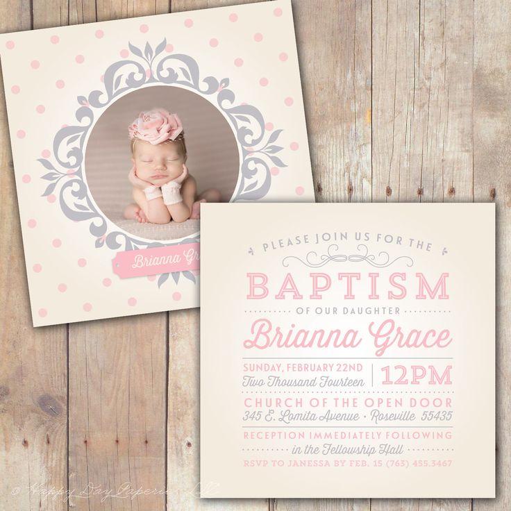 Vintage Elegance - Custom Baptism Baby Dedication First Communion Christening Announcement or Invitation for boy or girl by KimNelsonCreative on Etsy https://www.etsy.com/listing/176565703/vintage-elegance-custom-baptism-baby