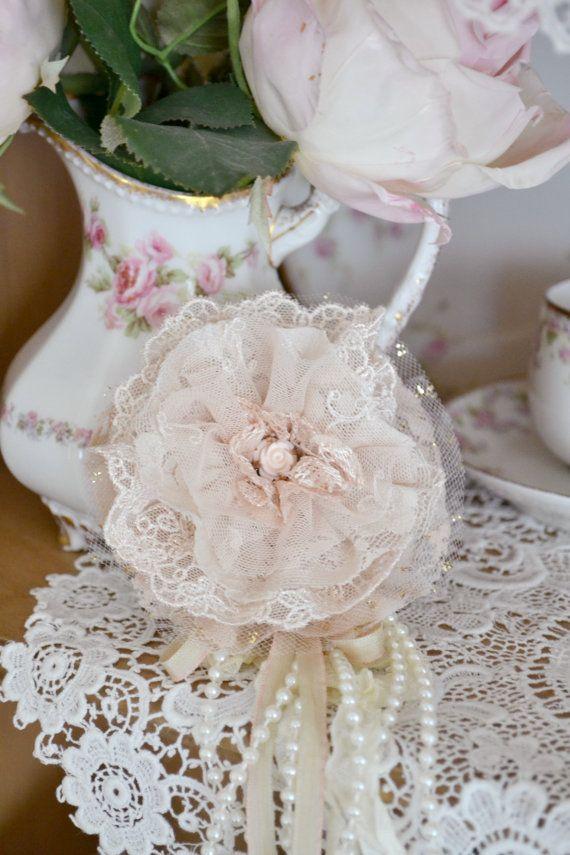 Blush Lace Gillyflower Handmade Lace Brooch by Jenneliserose