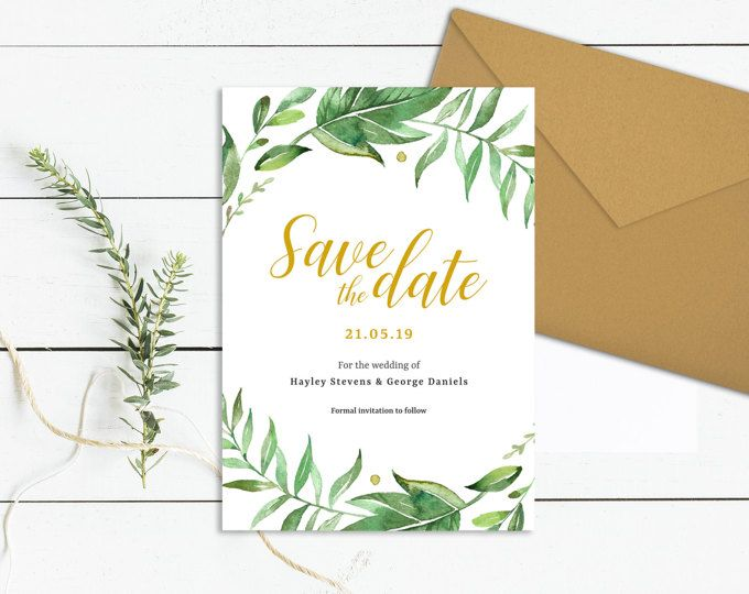 Greenery Save The Date Template Download Printable Save The Date Cards Template Weddi Save The Date Templates Save The Date Invitations Save The Date Cards