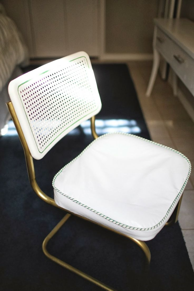 Breuer chair cane - Update A Breuer Chair With Gold Spray Paint On Frame White Cane Back