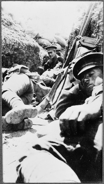 Soldiers resting in trenches, Gallipoli, 1915. Photographer: Sergeant W A Hampton of the Wellington Infantry Battalion. Reference Number: 1/2-168807-F Cellulose triacetate copy negative Photographic Archive, Alexander Turnbull Library