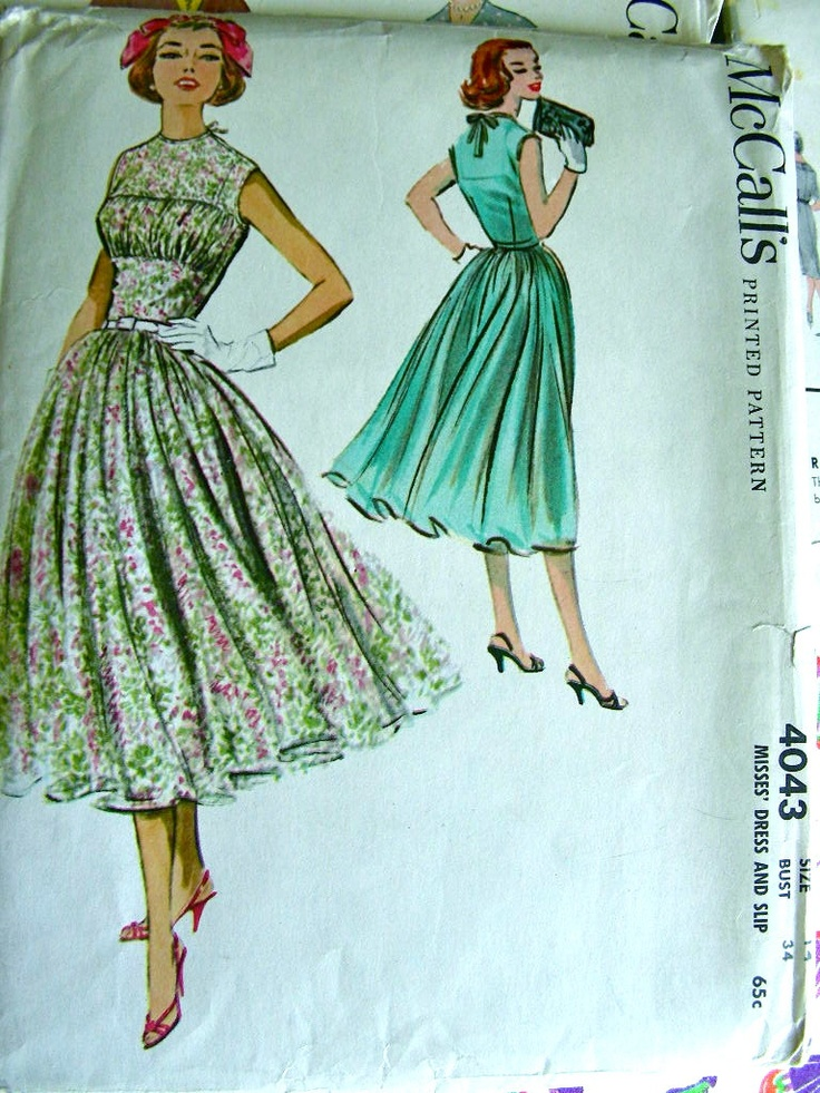 Vintage 1950s McCalls Sewing Pattern 4043 - ELEGANT Day or Evening Shirred & Fitted Bodice Dress and Slip -  Uncut - Bust 34