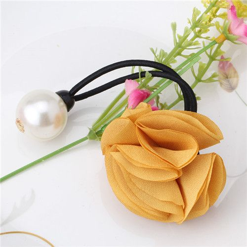 Hair Accessories Wholesale Hair Ring Ponytail Women Girl Fashion Rose Floral Pearl