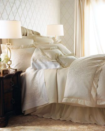 "SHEETS AND PILLOWCASES ""Ivory+Jacquard""+Bed+Linens+by+SFERRA+at+Horchow."