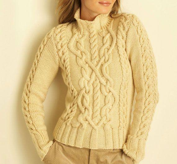 Бежевый свитер с аранами. Спицами. Схема