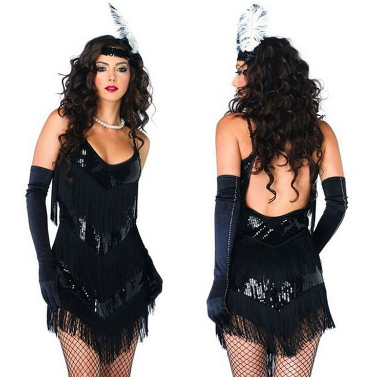 20s 1920s Flapper Charleston Costume Fancy Dress +Black Gloves + Boa #Dress #FancyCostume