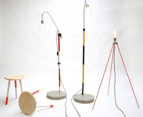 "Upcycled Floor Standing Lamp. Hand made ""one off"" designs from old industrial recycled materials in the form of  surveying equipment. Soon to be seen on BBC1's Money For Nothing TV Show."