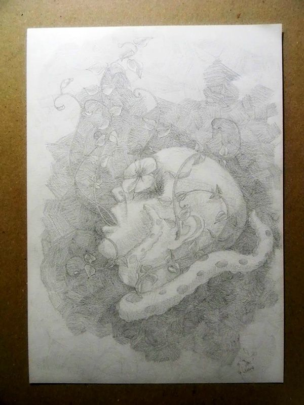Abrazo vegetal on Behance  #drawing #pencil #illustration #surreal, #art #shadows #original