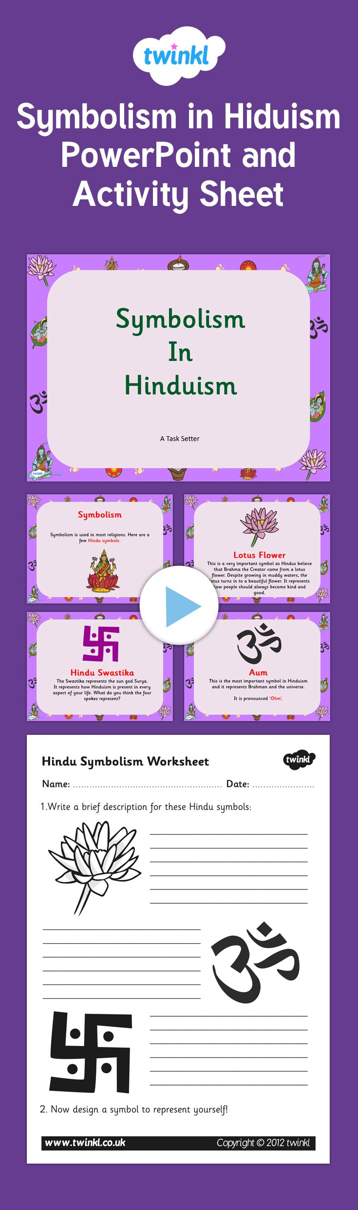 Symbolism in Hinduism PowerPoint and Activity Sheet Pack - This fantastic  pack includes our symbolism in