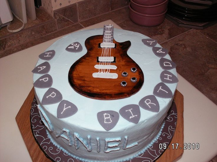 Guitar Birthday Cake on Cake Central