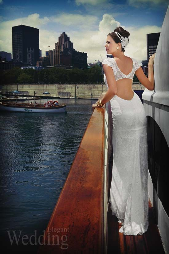 Backless lace wedding dress by Melissa Gentile Couture. Spring 2013 collection. Chantelle backless French lace dress.