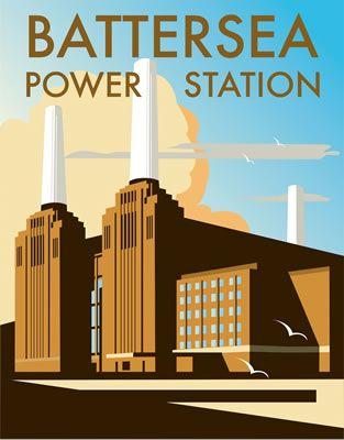 Battersea Power Station. By Illustrator Dave Thompson wholesale fine art print