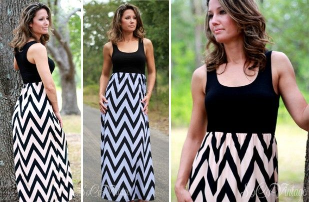 GroopDealz | Shade of Chevron Tank Maxi Dress