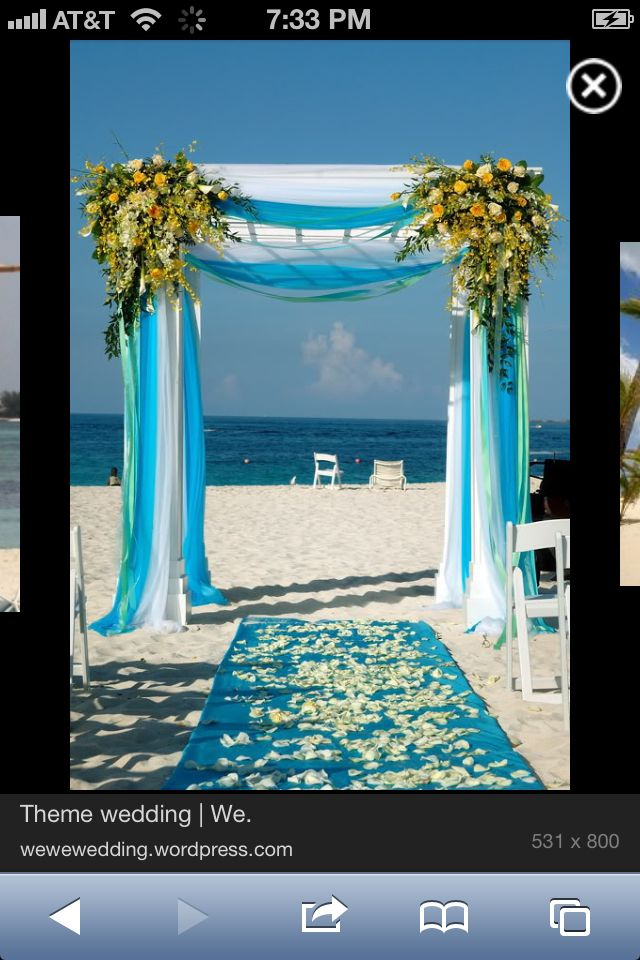Wedding arch draped this way with all 3 colors. Turqouse blue, pink and yellow. Bride and Grooms colors.