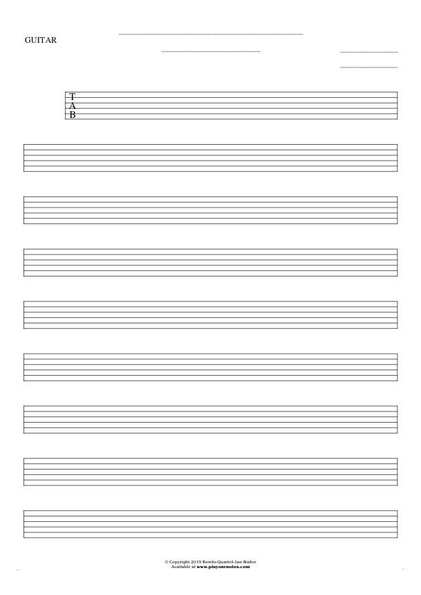 Free Blank Sheet Music sheet music by Jan Walter. Part: Tablature for guitar.