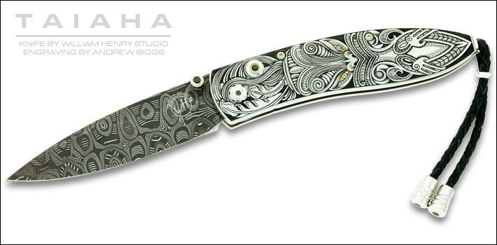 Outstanding example of Andrew Biggs, out of New Zealand.  Beautiful design representation of a Taiaha, a two handed Maori weapon.