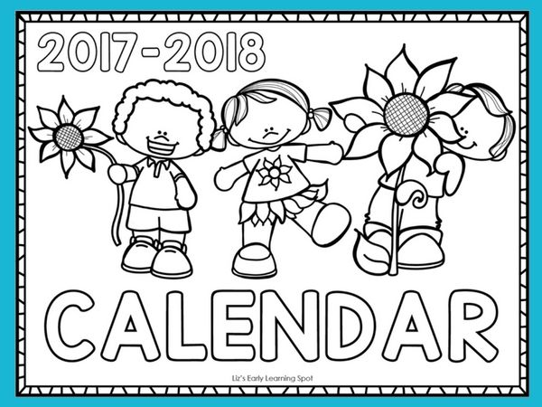 Free 2017-2018 Monthly Calendar for Kids