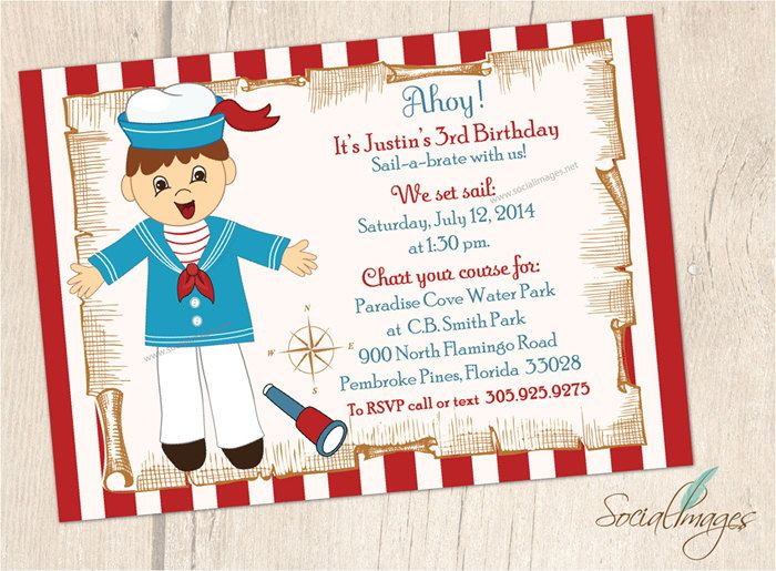 Nautical sailor theme party - Sail-a-brate with this unique Vintage Sailor Birthday Party Invitation -