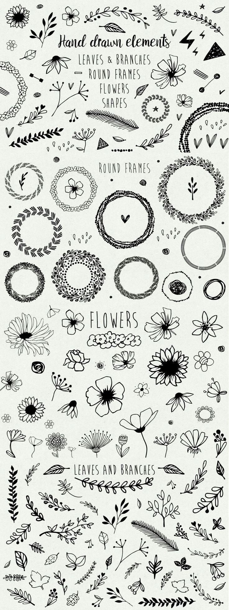 Kränze und Blumen - Verzierung Handlettering