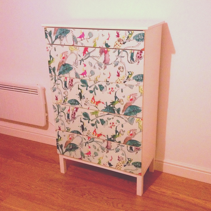 Jazzing up some drawers with Quentin Blake wallpaper!