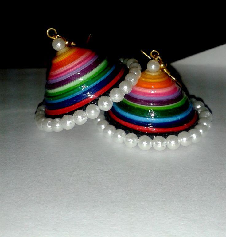 Quilled multicolor jhumka For more visit www.facebook.com/sakhifiligree