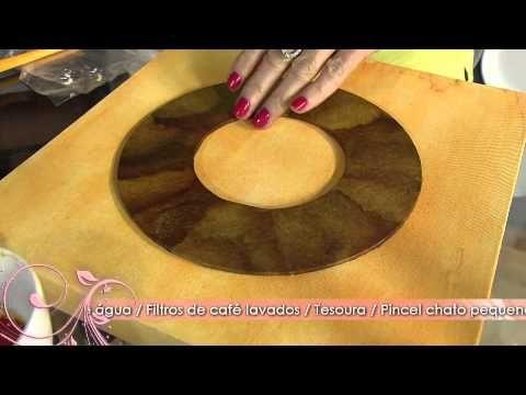 Faça um quadro decorativo com coador de café e pedrarias! - YouTube