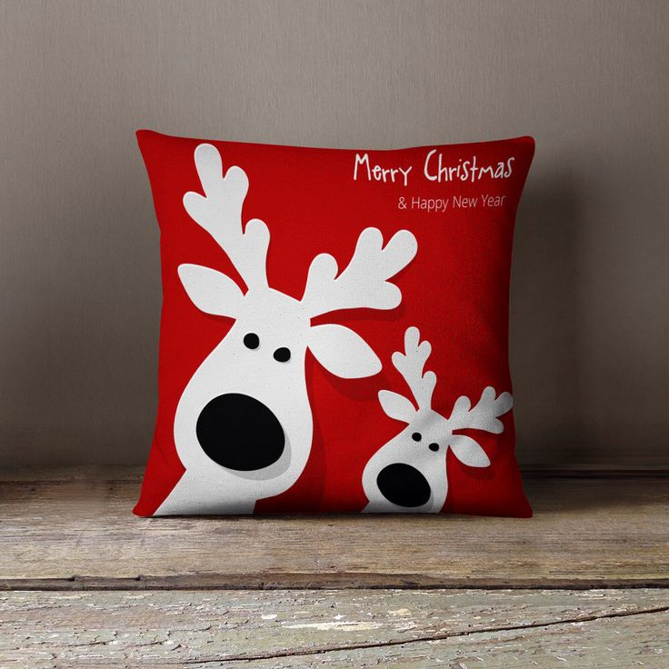 """Christmas Decorations - """"Two Reindeers eager for Christmas"""" Pillow Case by wfrancisdesign on Etsy https://www.etsy.com/listing/249700200/christmas-decorations-two-reindeers"""