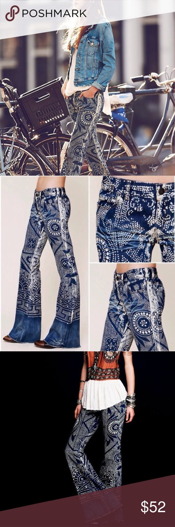 Free People Bali Discharge Flare Free people balinese hand painted distressed denim flares, perfect condition! Free People Jeans
